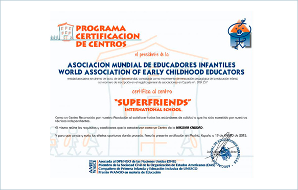 certificado amei waece - superfriends